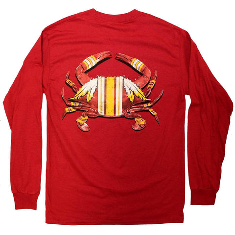 DC Football Home Team Crab *Back Print* (Cardinal) / Long Sleeve Shirt - Route One Apparel