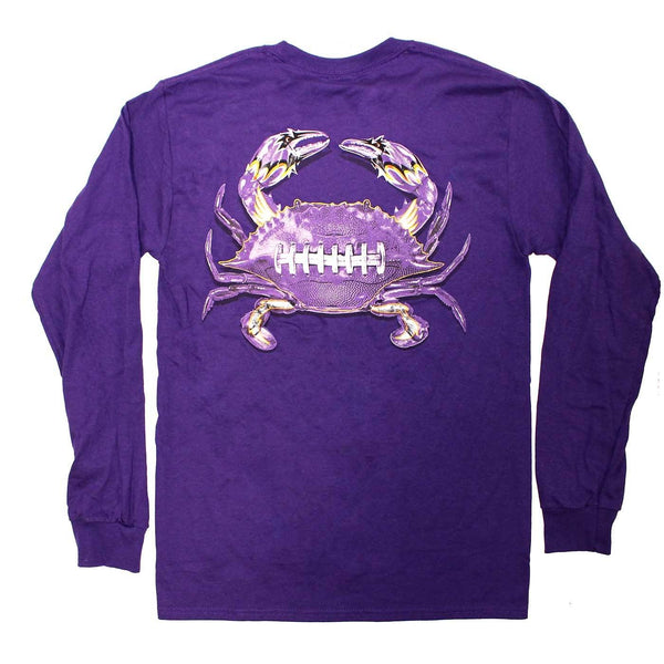 Baltimore Football Home Team Crab *Back Print* (Purple) / Long Sleeve Shirt - Route One Apparel