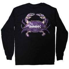 Baltimore Football Home Team Crab *Back Print* (Black) / Long Sleeve Shirt - Route One Apparel
