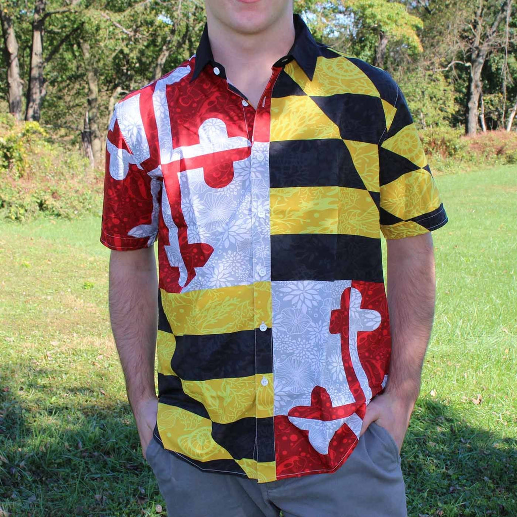 Maryland Flag Nautical Shells / Hawaiian Shirt