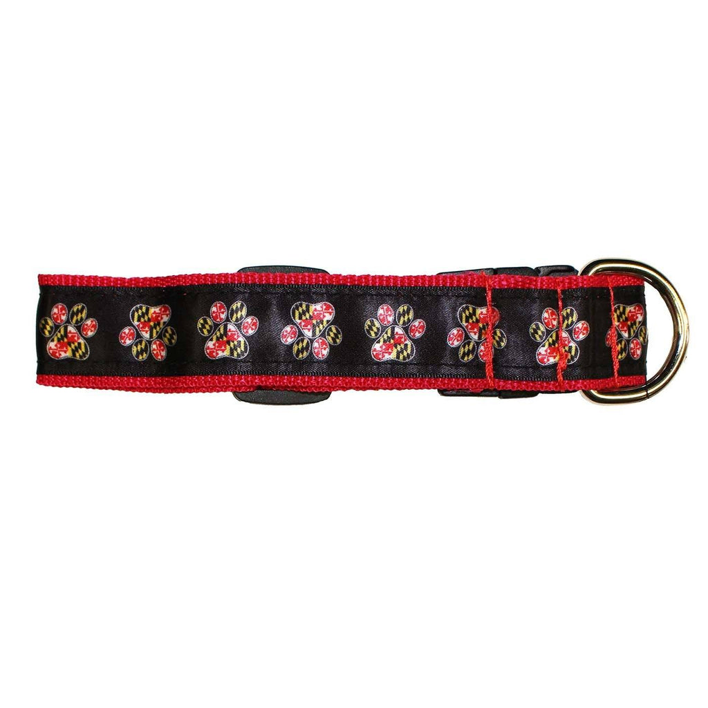Maryland Paw Print (Black) / Dog Collar