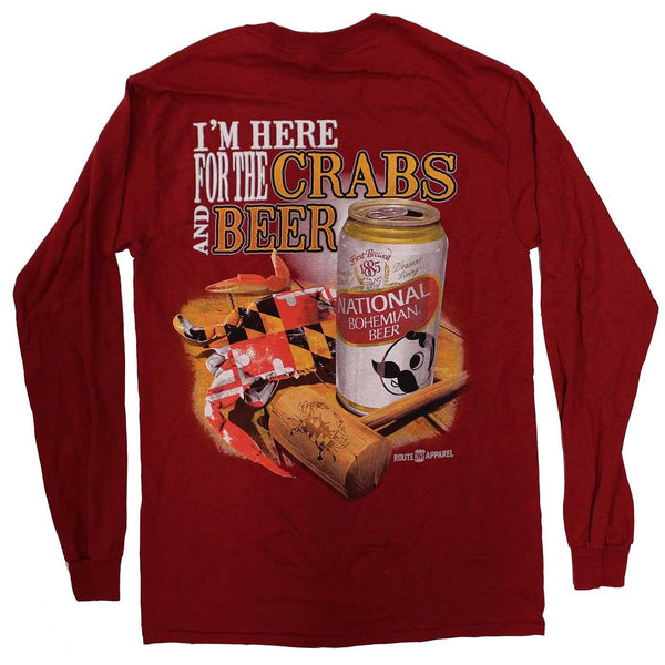I'm Here for the Crabs & Beer (Cardinal) / Long Sleeve Shirt