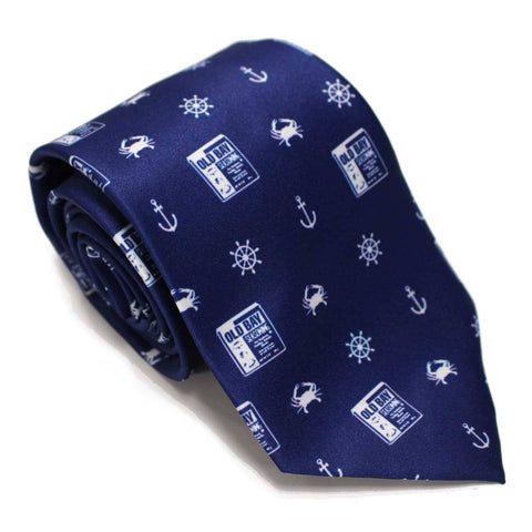 Nautical Crab, Anchor and Old Bay (Navy) / Tie