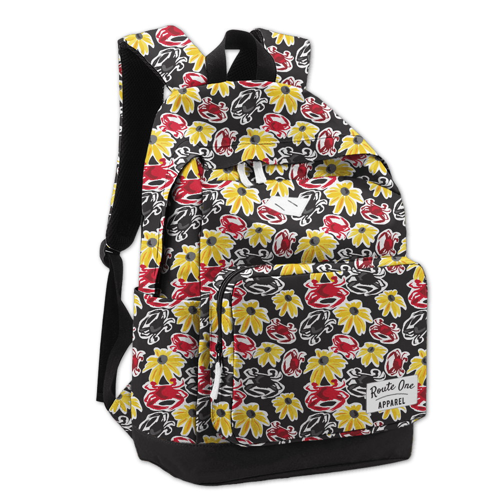 Black Pennington Crab & Black Eyed Susan / Book Bag - Route One Apparel