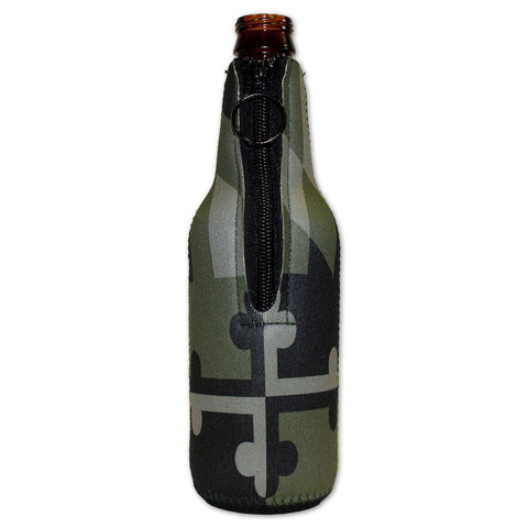 Green Camo Maryland Flag / Bottle Koozie