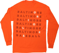 Baltimore Baseball Text (Orange) / Long Sleeve Shirt - Route One Apparel