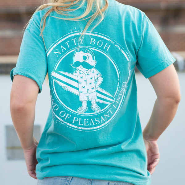 Natty Boh Surfer Dude Land of Pleasant Living (Seafoam) / Shirt
