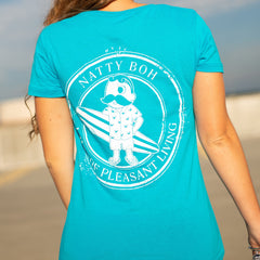 Natty Boh Surfer Dude Land of Pleasant Living (Caribbean Blue) / Ladies V-Neck Shirt