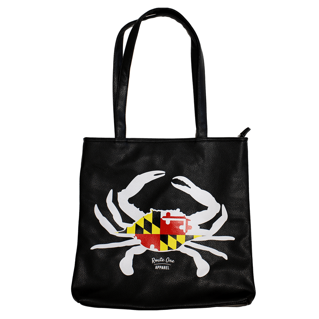Maryland Flag Crab (Black) / Vegan Leather Tote Bag