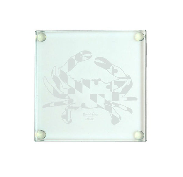Maryland Full Flag Crab / Glass Coaster