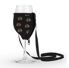 Maryland Full Flag Crab (Black) / Wine Glass Koozie with Strap