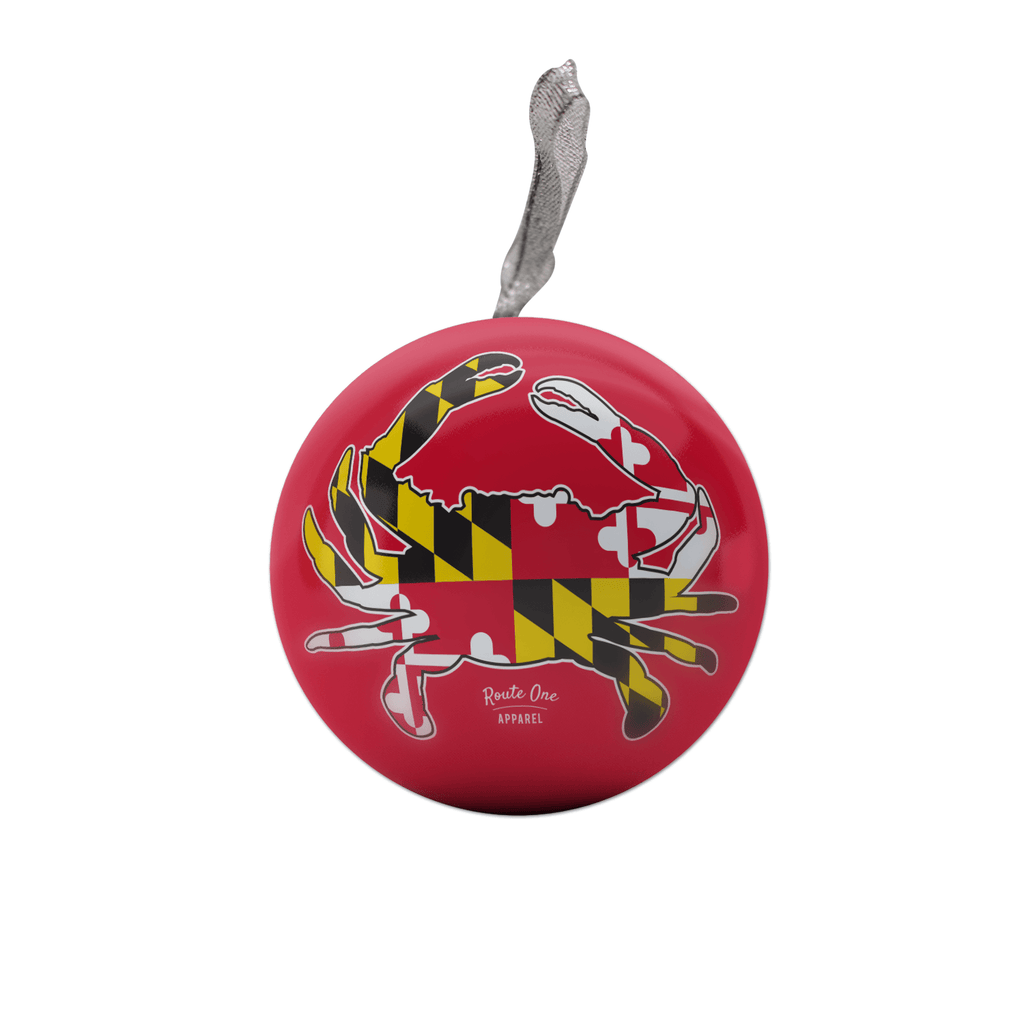 Maryland Full Flag Crab (Red) / Tin Ball Ornament