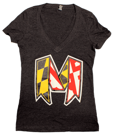 Maryland Ribbon (Charcoal Grey) / Ladies V-Neck Shirt