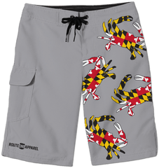*PRE-ORDER* Maryland Full Flag Crab (Grey) / Board Shorts (Estimated Ship Date: 6/1)