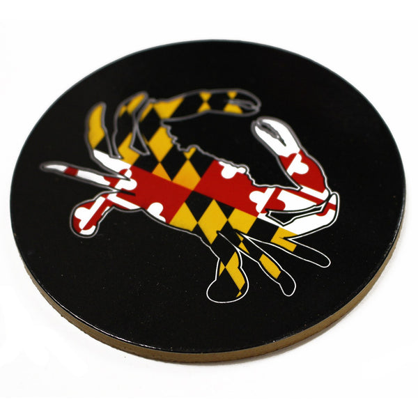 Maryland Full Flag Crab (Black) / Cork Coaster