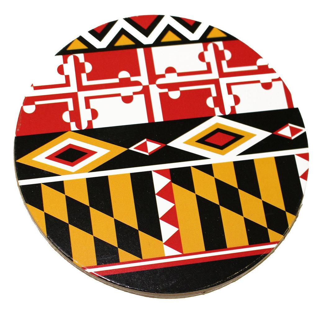 Maryland Flag Geometric Pattern / Cork Coaster