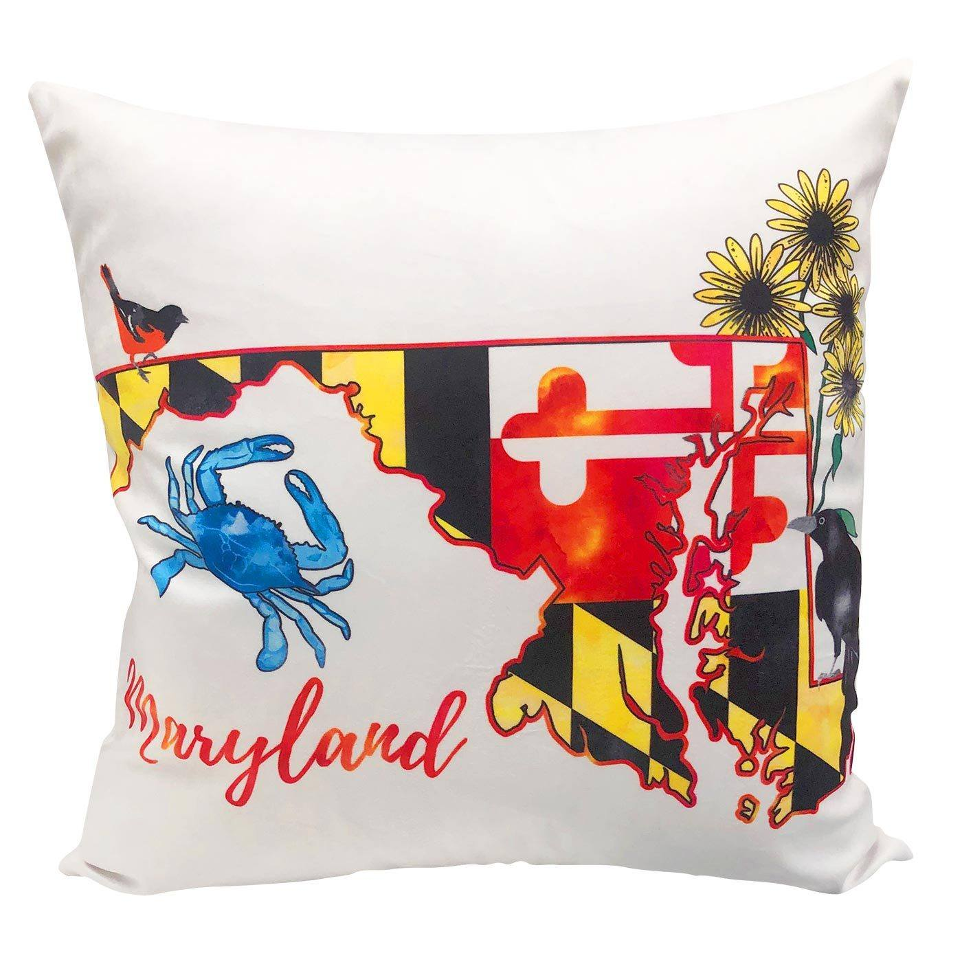Maryland Map Icons Throw Pillow Route One Apparel