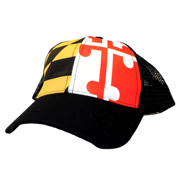 Maryland Flag w/ Black Mesh / Trucker Hat