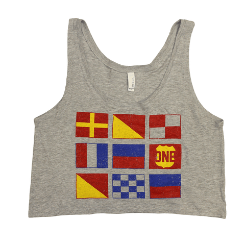 Boat Flag (Heather Grey) / Ladies Crop Tank - Route One Apparel
