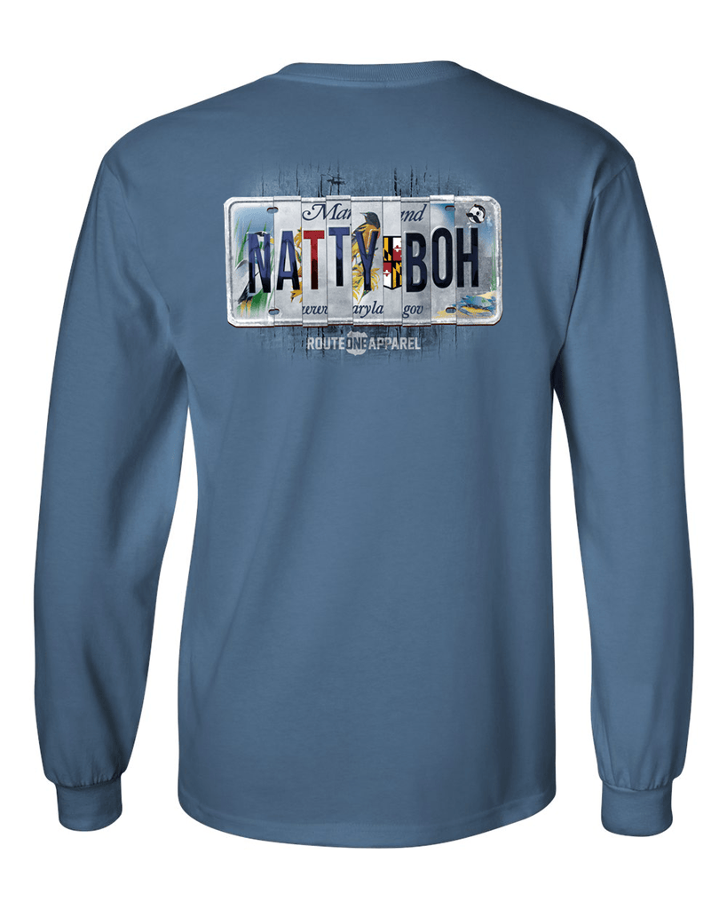 *PRE-ORDER* Natty Boh License Plate (Indigo Blue) / Long Sleeve Shirt - Route One Apparel