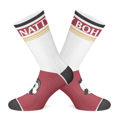 Natty Boh Feet (Burgundy & Gold) / Crew Socks