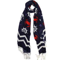 Chevron Crab and Anchor Design (Blue) / Scarf - Route One Apparel
