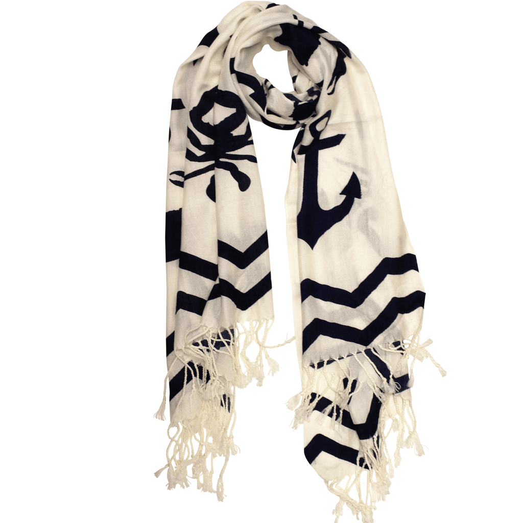 Chevron Crab and Anchor Design (White) / Scarf