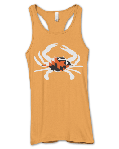 Black & Orange Maryland Crab (Orange) / Ladies Racerback Tank - Route One Apparel