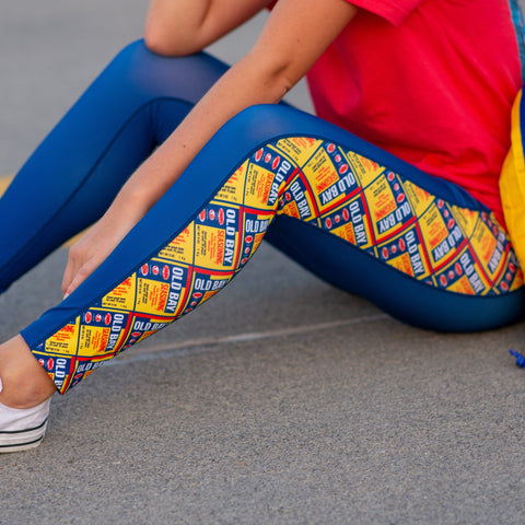 Old Bay Can Pattern Sides (Royal) / Yoga Leggings