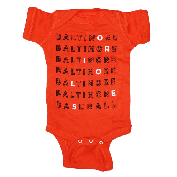 Baltimore Baseball Text (Orange) / Baby Onesie