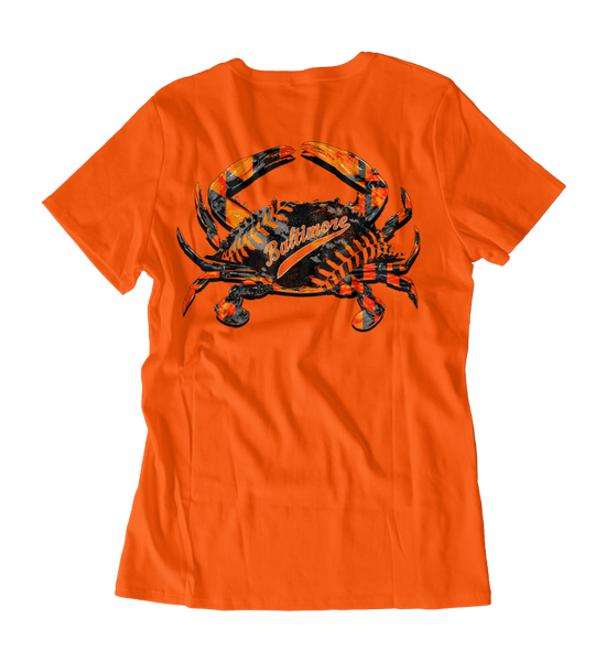Baltimore Baseball Home Team (Orange) / Ladies V-Neck Shirt