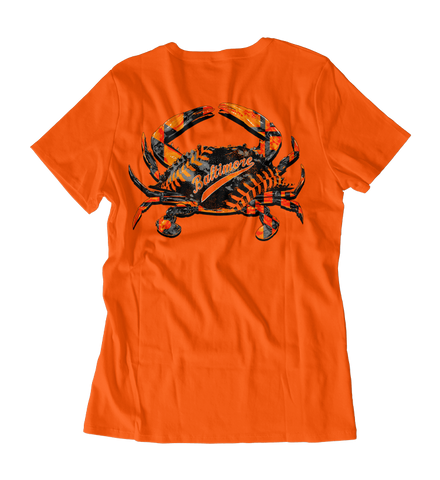 Baseball Home Team Crab *Back Print* (Orange) / Ladies V-Neck Shirt - Route One Apparel