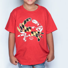 Maryland Full Flag Crab (Red) / *Youth* Shirt