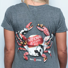Natty Boh Can Crab (Charcoal) / Ladies V-Neck Shirt