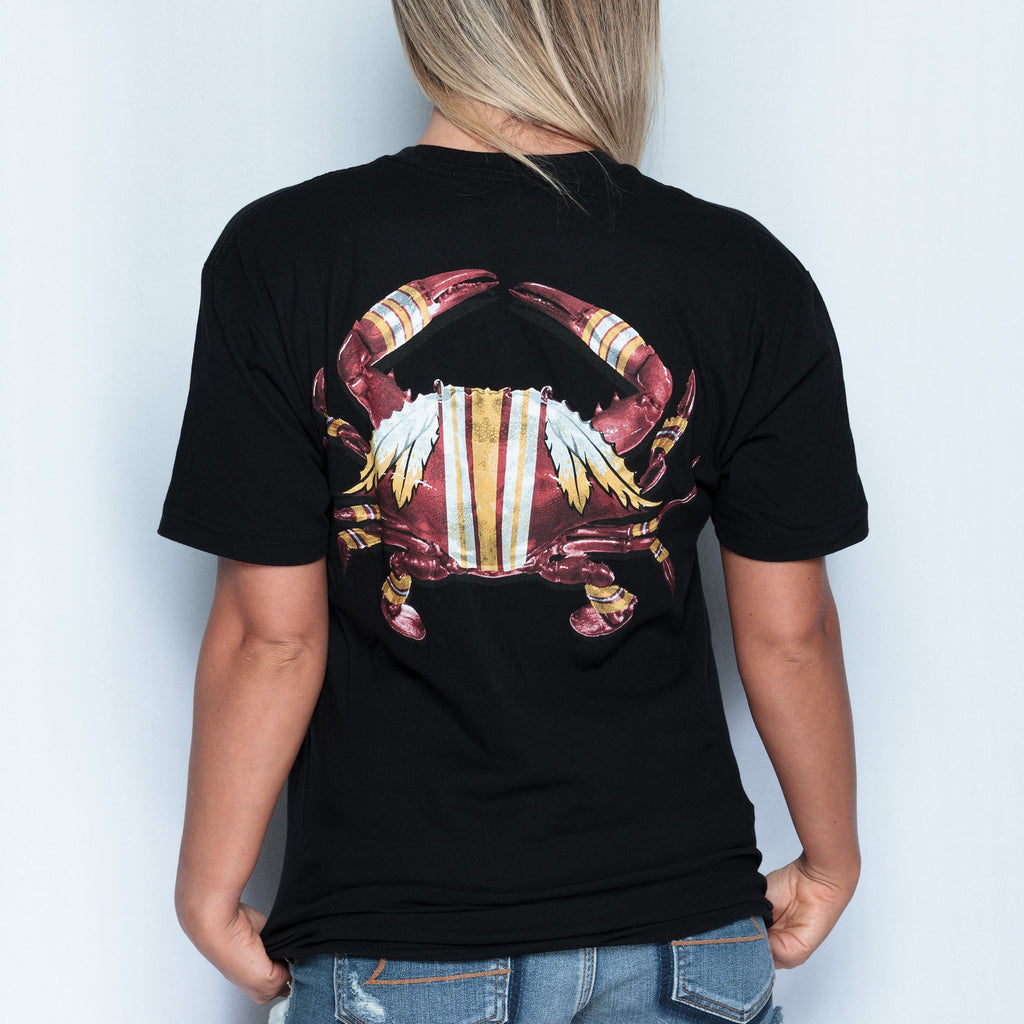 DC Football Home Team Crab *Back Print* (Black) / Ladies V-Neck Shirt - Route One Apparel