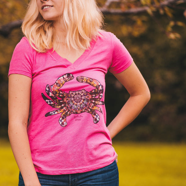 Classic Tie Dye Crab (Pink) / Ladies V-Neck Shirt - Route One Apparel