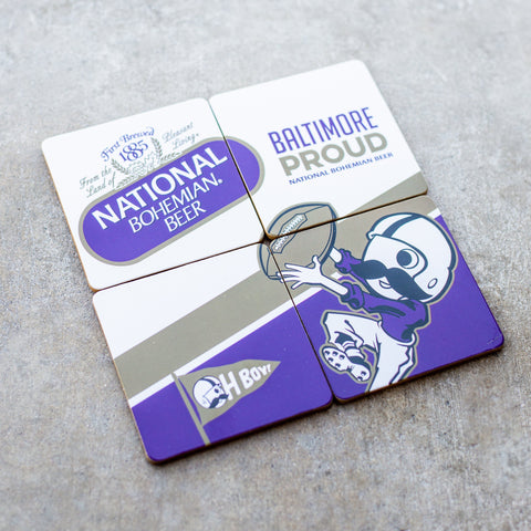 Bohtimore Football - National Bohemian (Purple) / 4-Piece Cork Coaster Set - Route One Apparel