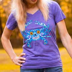 Sugar Skull Crab (Vintage Purple) / Ladies V-Neck Shirt