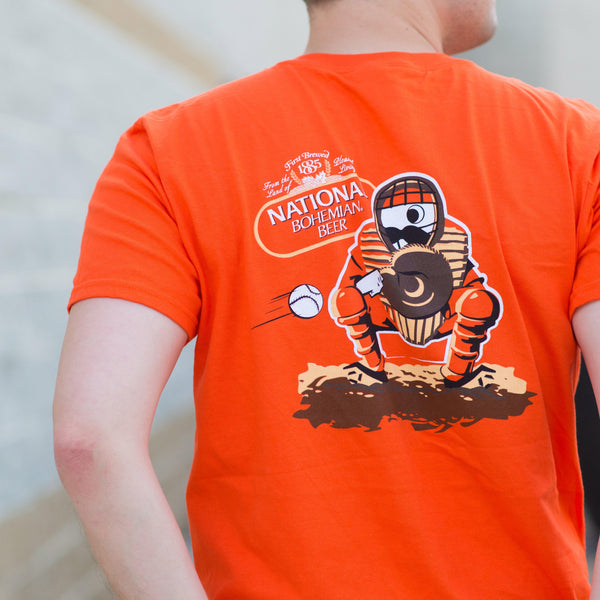 Natty Boh Baseball Catcher (Orange) / Shirt