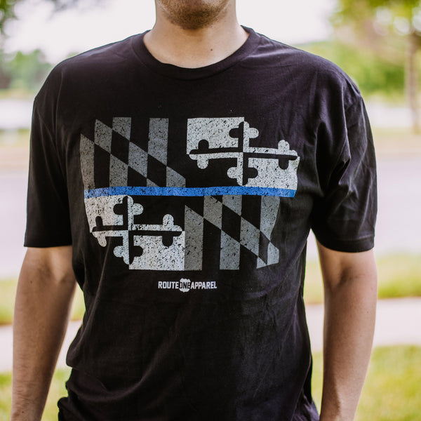 Maryland Flag Blue Line (Black) / Shirt