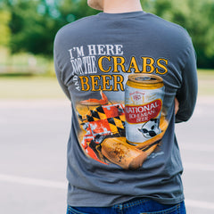 I'm Here for the Crabs & Beer (Charcoal) / Long Sleeve Shirt