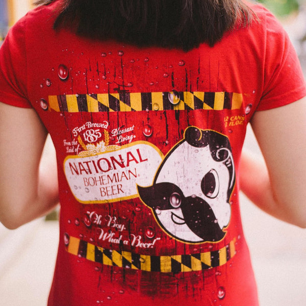 National Bohemian Logo w/ Calvert Stripes (Red) / Ladies V-Neck Shirt
