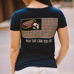 Boh Say Can You See (Navy) / Ladies V-Neck Shirt - Route One Apparel