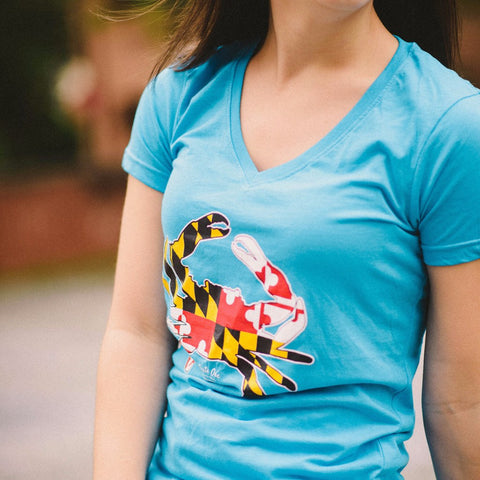 Maryland Full Flag Crab (Caribbean Blue) / Ladies V-Neck Shirt