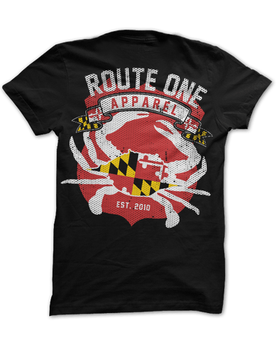 Route One Apparel Classic Flag & Crab (Black) / Shirt