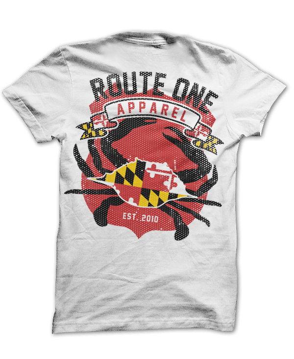 Route One Apparel Classic Flag & Crab (White) / Shirt
