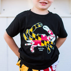 Maryland Full Flag Crab (Black) / *Toddler* Shirt