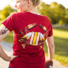 DC Football Home Team Crab *Back Print* (Cardinal) / Ladies V-Neck Shirt - Route One Apparel