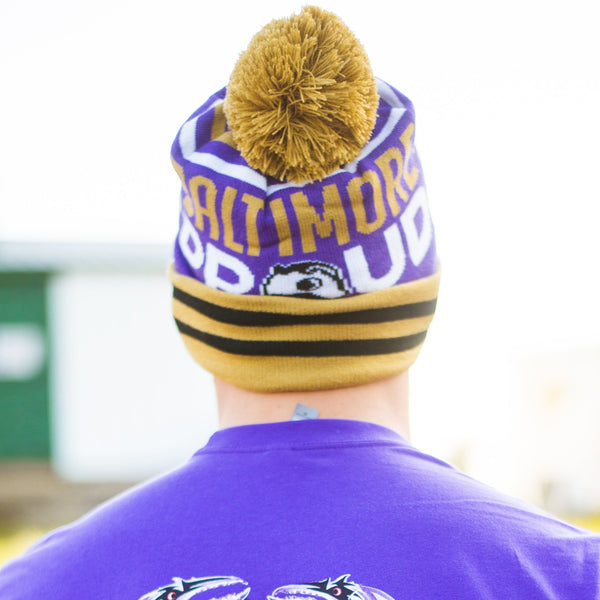 Baltimore Proud Boh Text (Purple w/ Gold Pom) / Knit Beanie Cap