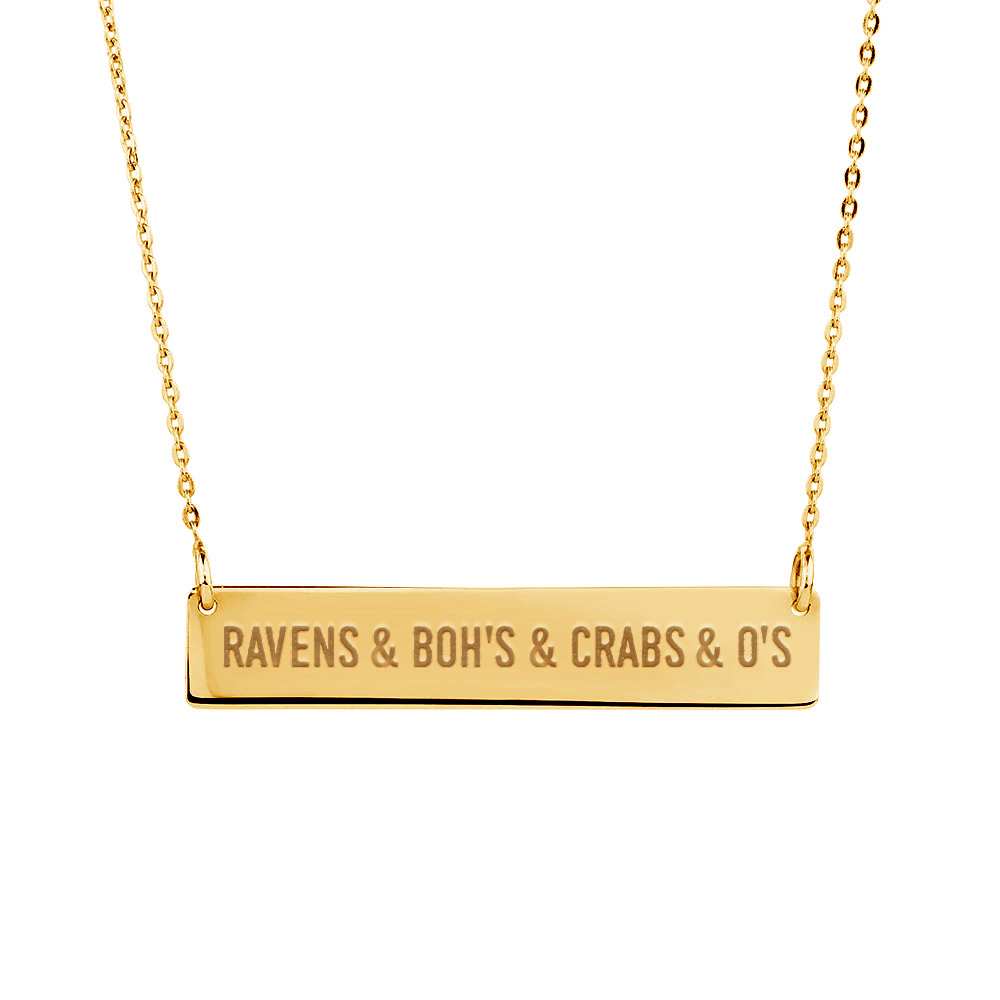 Ravens & Bohs & Crabs & O's (Sterling Silver w/ 14K Gold Vermeil) / Bar Necklace